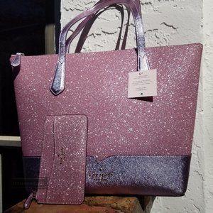 Kate Spade Lola Glitter tote PINK Card Holder SET